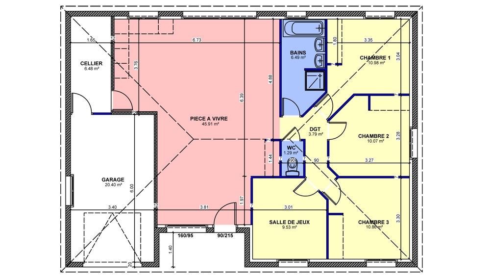 Maisons plain pied 4 chambres de 99 m construite par for Maison de plain pied 4 chambres
